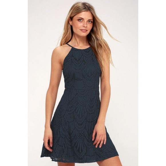 Casey Navy Blue Lace Skater Dress 77bf1ac42